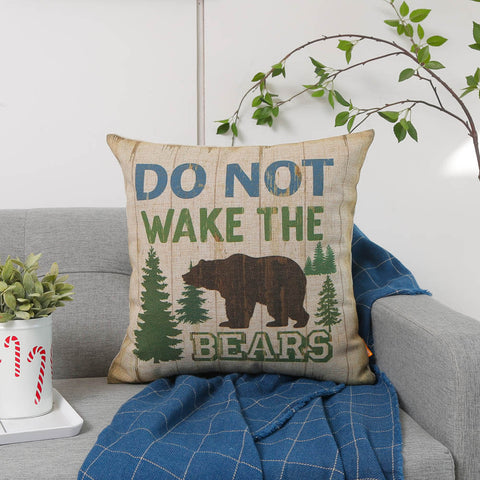 LINKWELL 18x18 Do Not Wake the Bears Pillow Cover