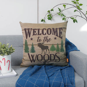 18x18 Welcome to the Woods Wildlife Pillow Cover