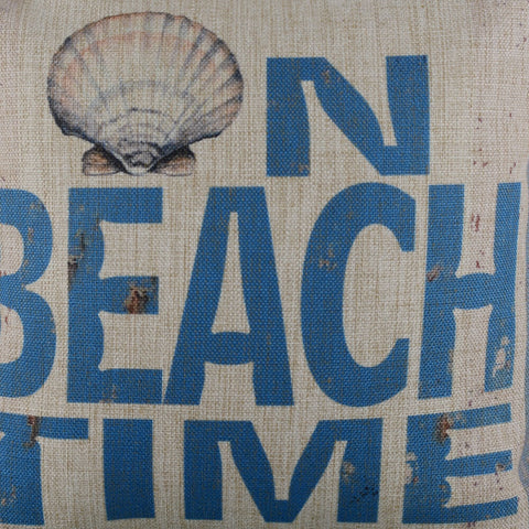 On Beach Time Blue Pillow Cover