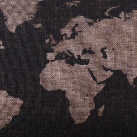 Image of Black World Map Toss Pillow Cover