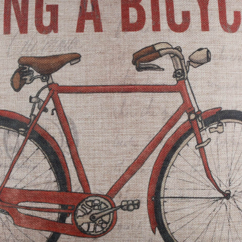 Image of Vintage Red Bicycle Pillow Cushion Cover