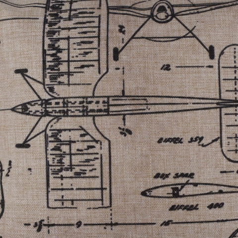 Simplistic Sketched Airplane Blueprint Pillow Cover