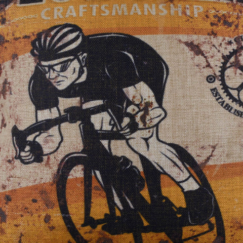 Rustic Yellow Vintage Style Racing Bicycle Pillow Cover