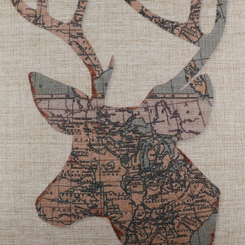 Image of Deer Head in Old Map Pillow Cover
