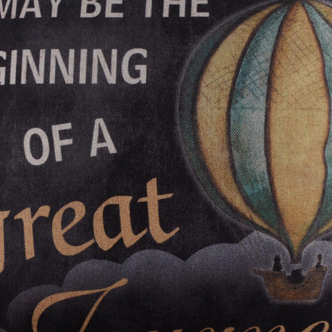 Image of Blackboard Look Hot Air Balloon Quote Pillow Cover