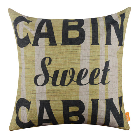 Cabin Sweet Cabin Tree Yellow Pillow Cover