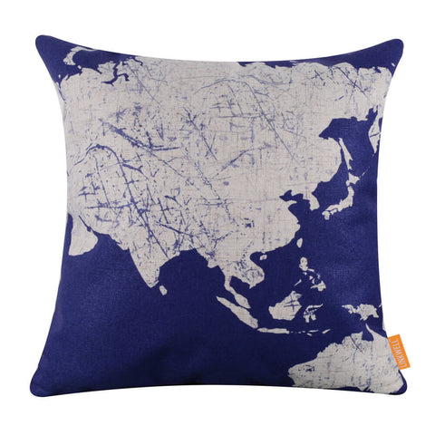 Captivating Blue World Map Throw Pillow Cover