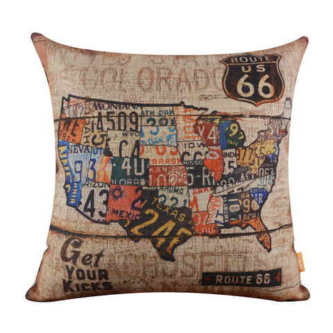 Car Plate USA Map Pillow Cover