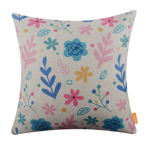 Cartoon Floral Cushion Cover 18 x 18 for Kid Room