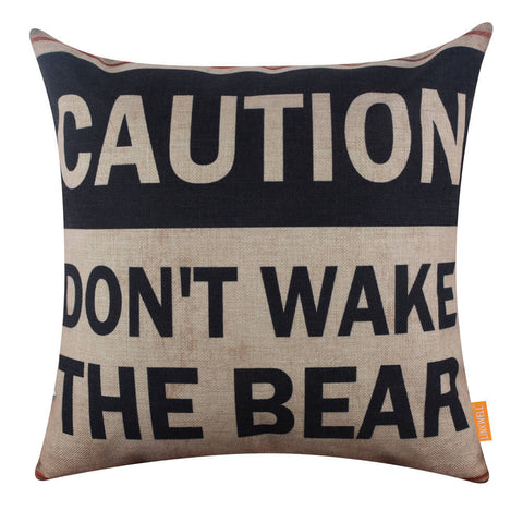 Caution Man Cave Cushion Cover for Couch