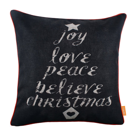 Chalk Word Christmas Tree Pillow Cover