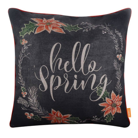 Chalk Words Hello Spring Pillow Cover