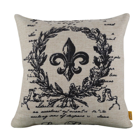 Image of Charming Fleur Emblem Wreath Square Black Cushion Cover