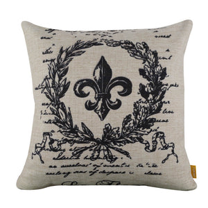 Charming Fleur Emblem Wreath Square Black Cushion Cover