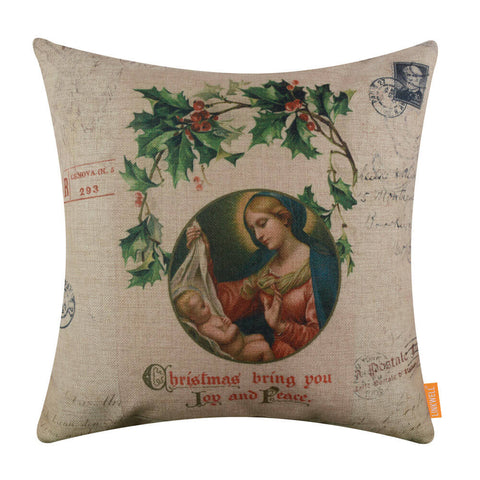 Image of Christmas Brings you Joy and Peace Pillow Cover