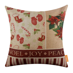 Christmas Red Poinsettia Flower Modern Pillow Covers