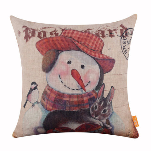 Christmas Snowman Pillow Cover