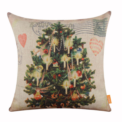Image of Christmas Tree Green Pillow Cover for Christmas Gift