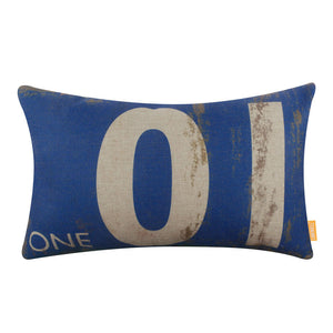 Classic Blue Number One Pillow Cover