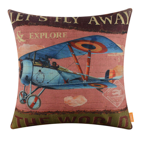 Image of Classic Aircraft Decorative Cushion Cover