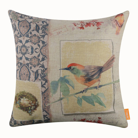 Image of Colorful Bird Pattern Pillow Cover