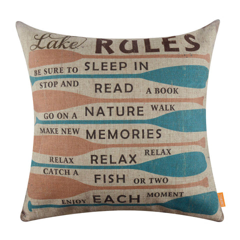 Image of Colorful Oar Lake Rules Pillow Cover