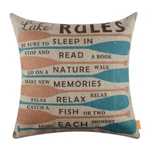 Colorful Oar Lake Rules Pillow Cover