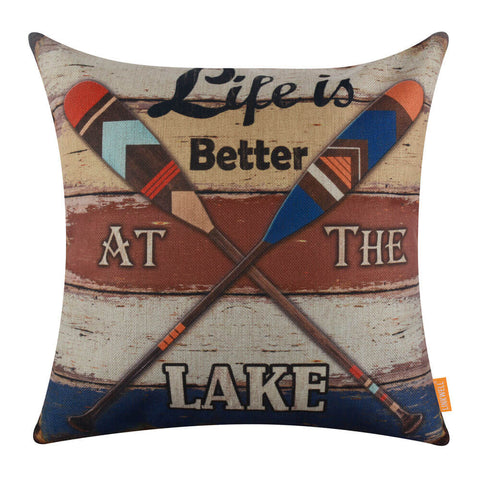 Image of Colorful Oars Life is Better at the Lake Couch Cushion Cover