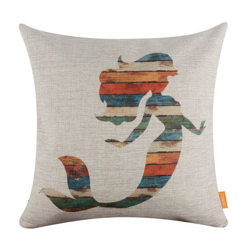 Colorful Wood Striped Mermaid Pillow Cover