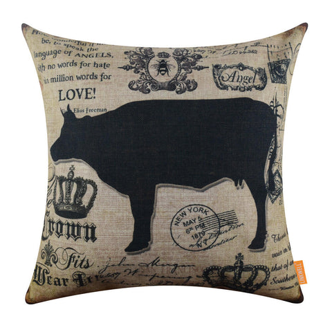 Cow Pillow Cover for Farmhouse Decoration