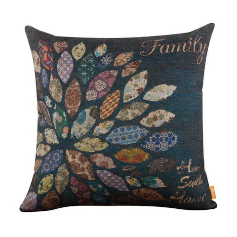Image of Cursive Family Home Sweet Home Patchwork Style Pillow Cover