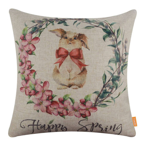 Image of Cute Rabbit Decorative Pillow Cover for Easter Day