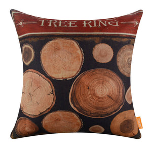 Dark Brown Tree Ring Cover Pillow