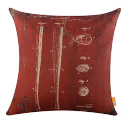 Deconstructed Baseball Bat Dark Red Pillow Cover