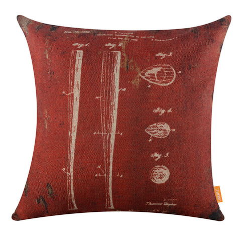 Image of Deconstructed Baseball Bat Dark Red Pillow Cover