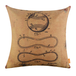 Deconstructed Baseball Patent Yellow Pillow Cover