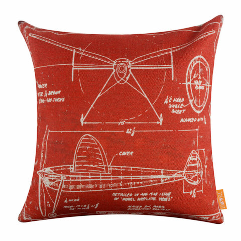Image of Deconstructed Red Airplane Patent Pillow cover