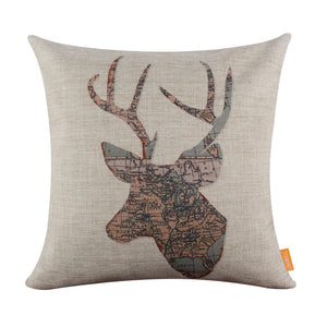 Deer Head in Old Map Pillow Cover
