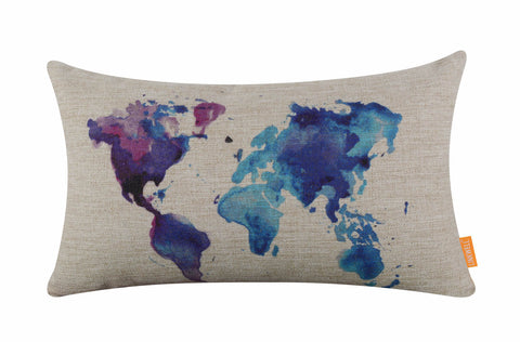 Delightful Watercolor World Map Decorative Pillow Cover