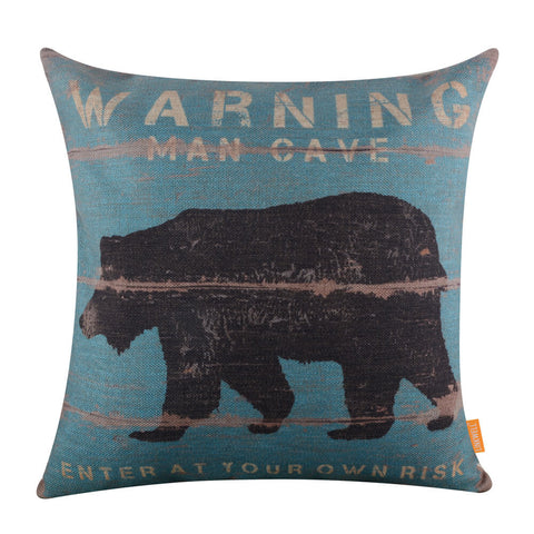 Distressed Bear Blue Wood Pillow Cover