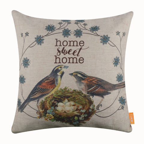 Image of  Double Bird Slogan Pillow Cover