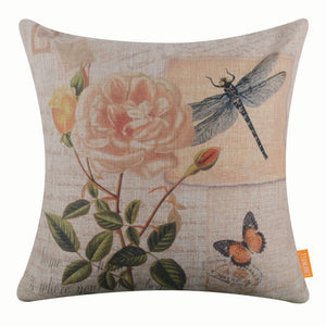 Dragonfly and Pink Rose Pillow Cover