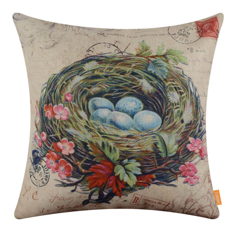 Image of Easter Egg Nest Holiday Pillow Cover