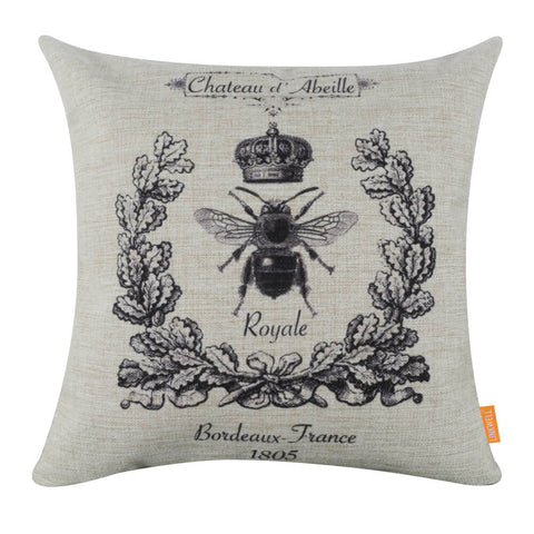 Image of Elegant French Bee Wreath Crown Square Cushion Cover