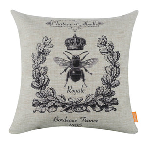 Elegant French Bee Wreath Crown Square Cushion Cover
