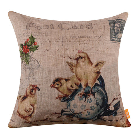 Enchanting Chicks Broken Pot Square Cushion Cover