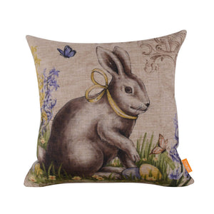 Exquisite Bunny Easter Egg Butterfly Square Cushion Cover