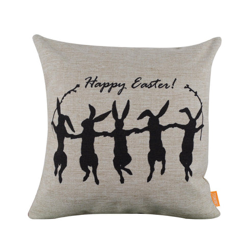 Image of Eye-Catching Happy Easter bunny Silhouette Square Cushion Cover