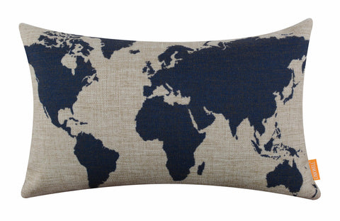 Image of Fabulous Blue World Map Bolster Cushion Cover
