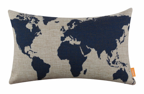 Fabulous Blue World Map Bolster Cushion Cover